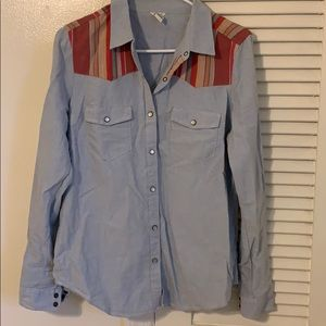 Blue jean button up with striped accent